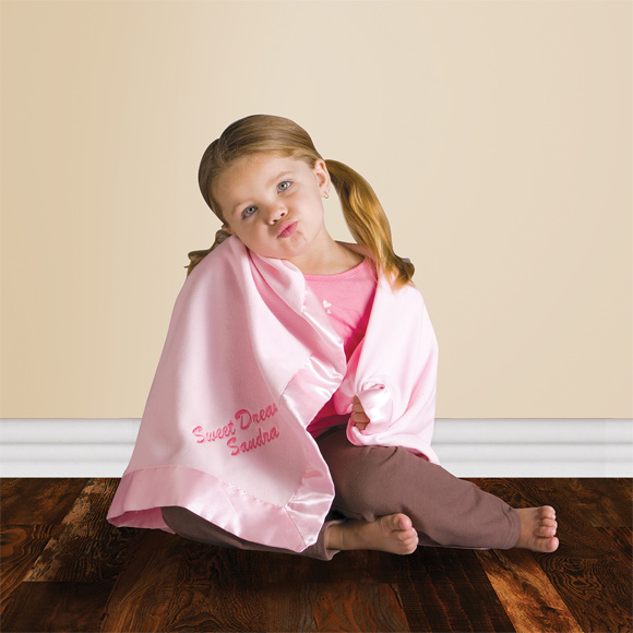KP1701 - Satin Trim Microfleece Baby Blanket