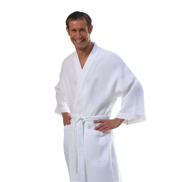RW1008 - Mid Calf Length Waffle Weave Kimono Robe XXL Size