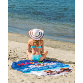Round Subli-Plush Velour Beach Towel