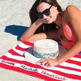 Microfiber Cabana Stripe Beach Towel