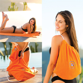 Solid Color Beach Towel with Self Tote Bag