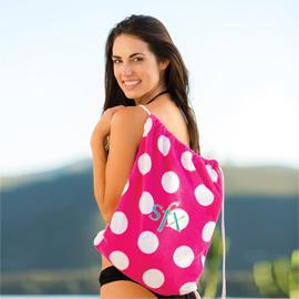 Polka Dot Beach Towel with Self Tote Bag