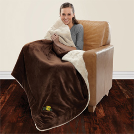 Shearling Lined Micro Mink Comforter Throw
