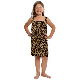 Kid's Terry Velour Leopard Print Body Wrap
