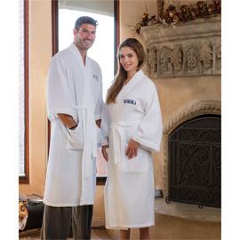 Mid Calf Length Waffle Weave Kimono Robe