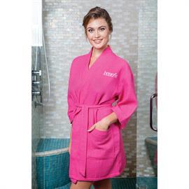 Thigh Length Waffle Weave Kimono Robe