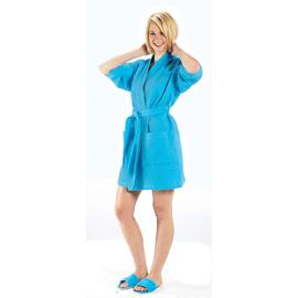 Thigh Length Waffle Weave Kimono Robe XXL Size